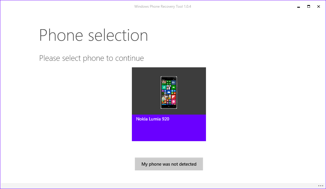 Windows Phone Recovery Tools - Phone Selection